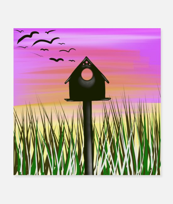 Pattern Posters - bird house - Posters white