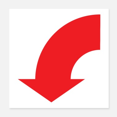 Arrowhead Red curly half circle arrow pointing down - Poster