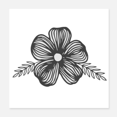 Pot Leaves dark grey and white flower with leaves - Poster