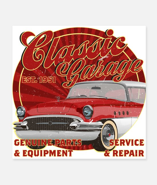 Antique Car Posters - Classic garage rockabilly classic car - Posters white