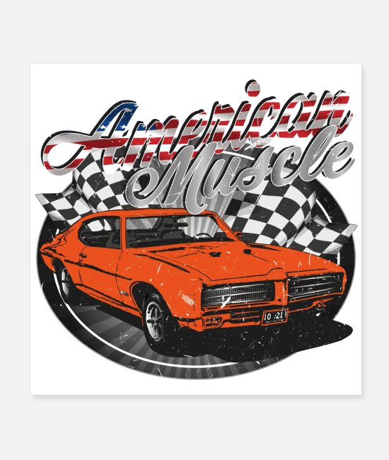 V8 Posters - American muscle car - Posters white
