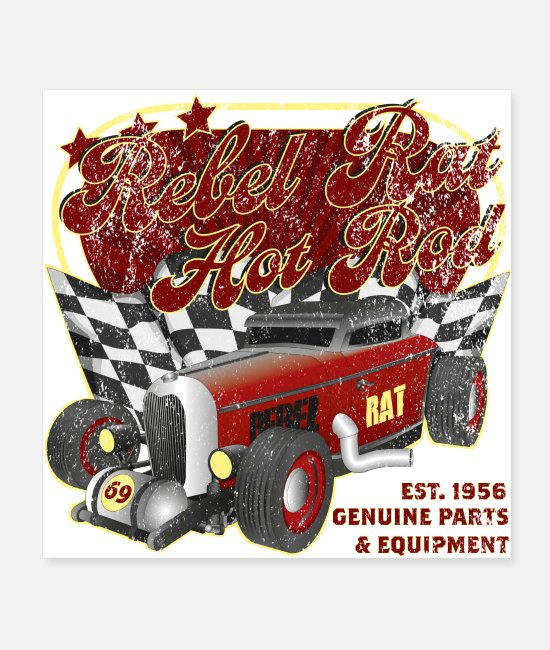 Antique Car Posters - Rebel Rat Hot Rod - Posters white