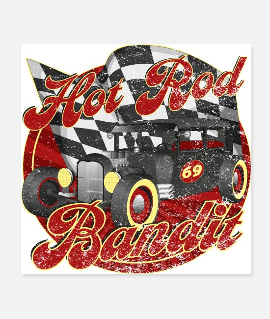 Antique Car Posters - Hot Rod Bandit - Posters white