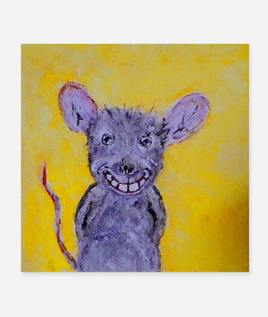 Therapy Posters - The cheerful little rat with a smile. - Posters white