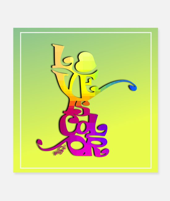 Amore Poster - LOVE IS COLOR POSTER - Poster bianco