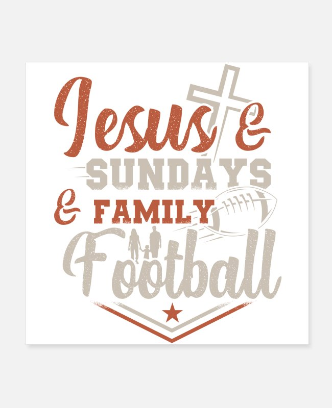 Quarterback Posters - American Football Jesus | Sports fan team gifts - Posters white