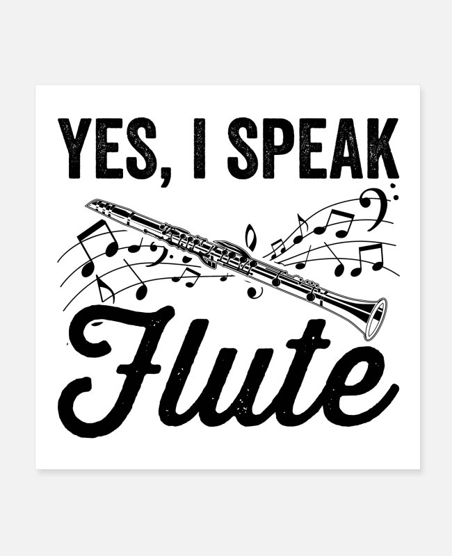 Make Music Posters - Flutes musical instrument | Flute music gifts - Posters white