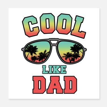 Abi Cool like dad zonnebril palm tree gift kids - Poster