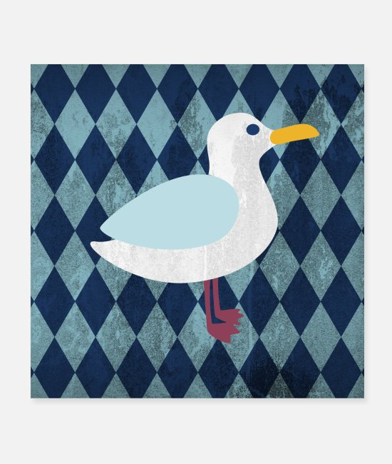 Water Posters - Poster seagull diamonds children's room maritime sea - Posters white