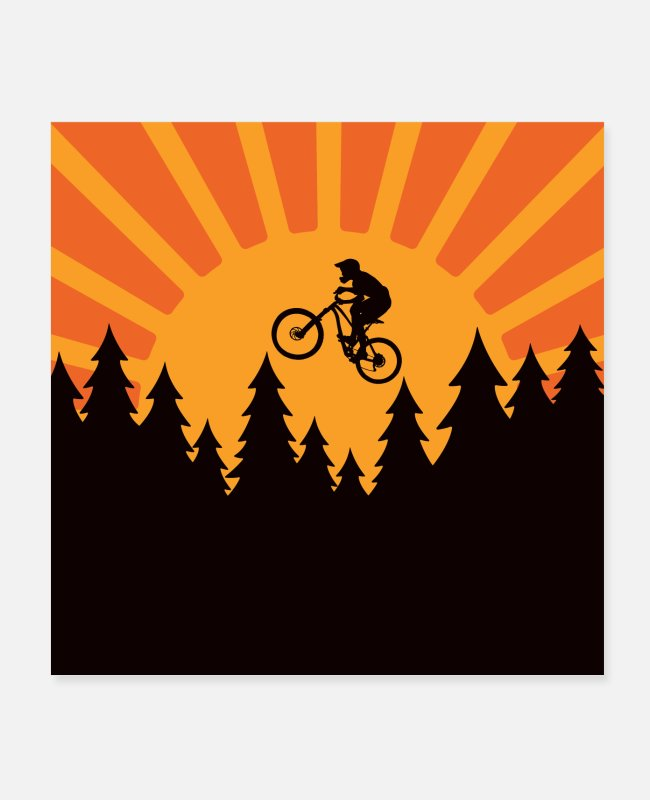 Trail Posters - Mountain bike sunset forest - Posters white