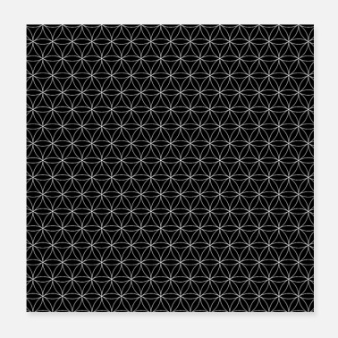 Flower Poster Flower of life, protection symbol black white pattern - Poster