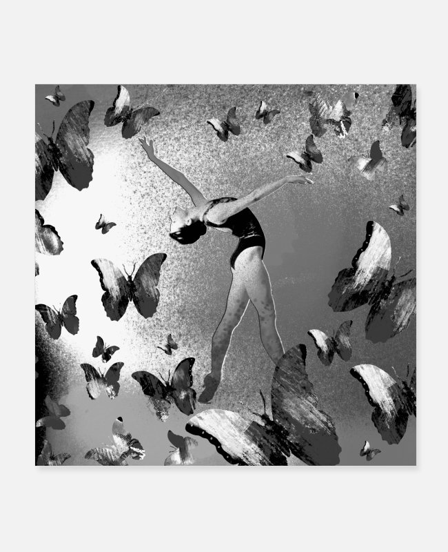 Butterfly Posters - Butterfly, woman, ballet, butterfly, black and white - Posters white