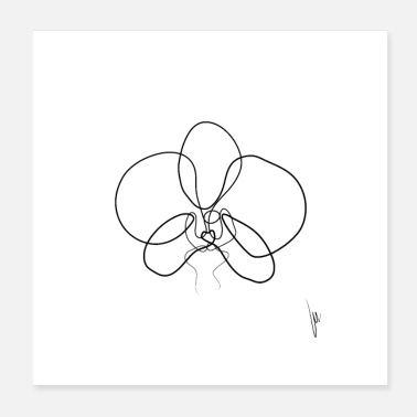 Bindestreg One Line Orchid - Poster