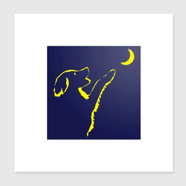 Romantic Dog looks at moon - Dog looks at moon - Poster 20x20 cm
