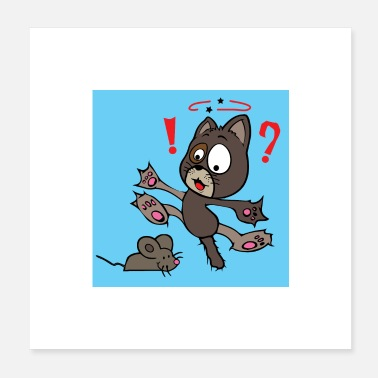 Pelz Crazy Cat is scared of a mouse wallcontest - Poster 20x20 cm