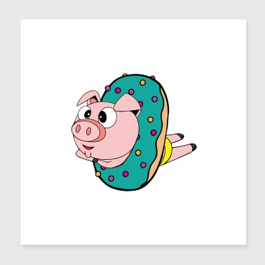 Crazy swimmer pig in the donut, wallcontest - Poster 20x20 cm