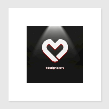 Heart Logo Square achtergrond - Poster 20x20 cm
