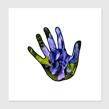 ecological hand with hydrangea - Poster 20x20 cm