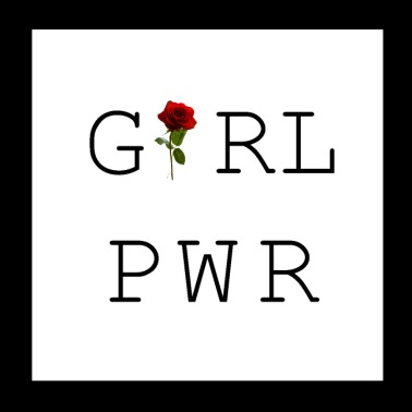 Girl Power mit Rose - Poster 20x20 cm