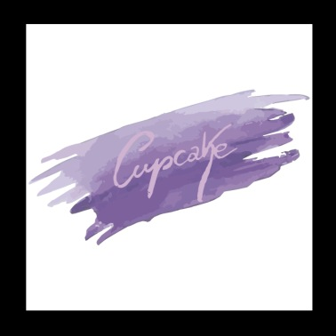 Cupcake on purple brushstroke - Poster 20x20 cm