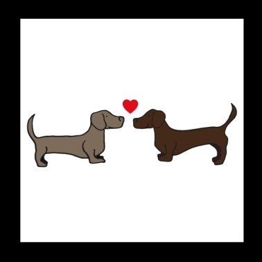 two kissing dachshunds, gift idea, poster - Poster 20x20 cm