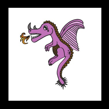 pink fire-breathing dragon, beautiful gift idea - Poster 20x20 cm