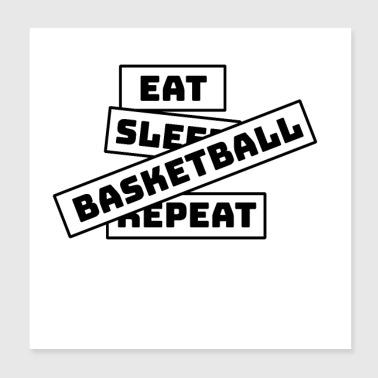 Spis Sleep Repeat Basketball - Poster 20x20 cm