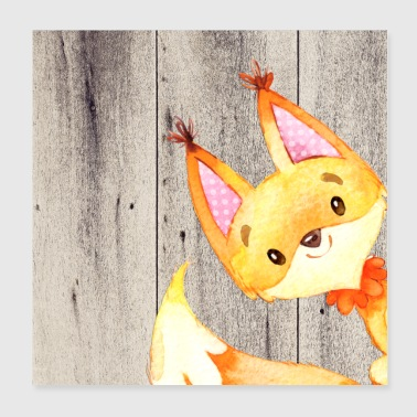 Animal friends in the forest - little fox - Poster 20x20 cm