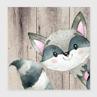 Animal friends in the forest - Little raccoon - Poster 20x20 cm