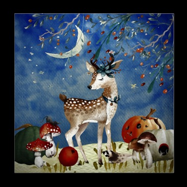 Animal friends in the forest - deer in autumn - Poster 20x20 cm