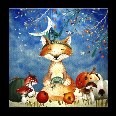 Animal friends in the forest - Little fox in autumn - Poster 20x20 cm