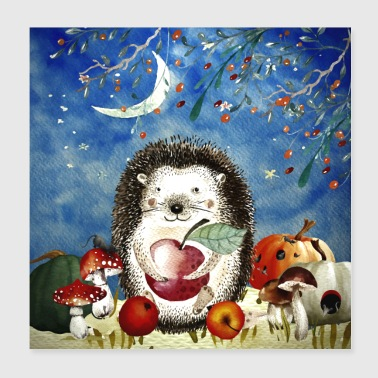 Animal friends in the forest - Little hedgehog in autumn - Poster 20x20 cm