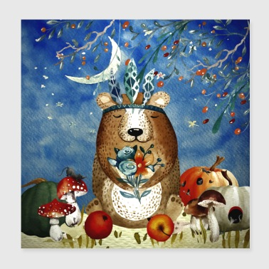 Amici animali nella foresta - Little bear in the herb - Poster 20x20 cm