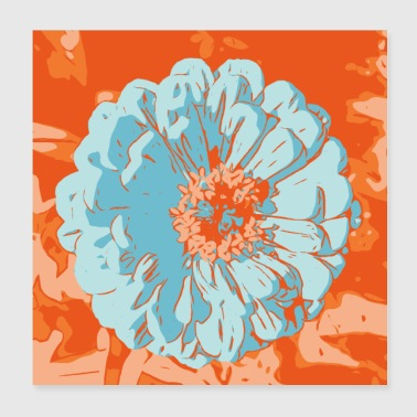 Flower pictures Gerbera orange_01 - Poster 20x20 cm