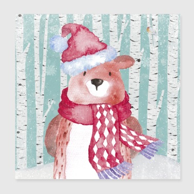 Forest friends in the winter forest - The cozy bear - Poster 20x20 cm