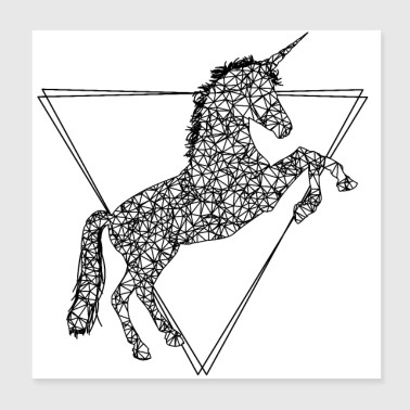 Cool, stylish unicorn made of lines and triangles - Poster 20x20 cm