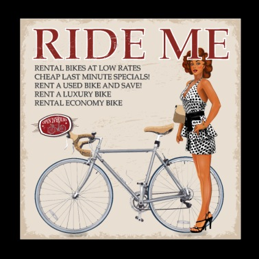 Ride Me - ride a bicycle - Poster 20x20 cm