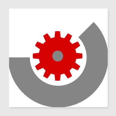 Gear red - Poster 20x20 cm