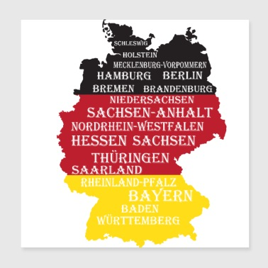 Federal States Germany flag borders - Poster 20x20 cm