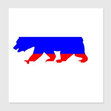 Russia bear coat of arms flag - Poster 20x20 cm