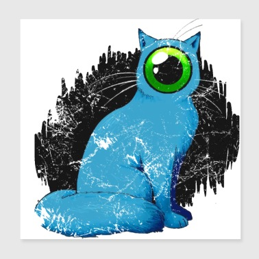 Cyclops cat Weird - Poster 20x20 cm