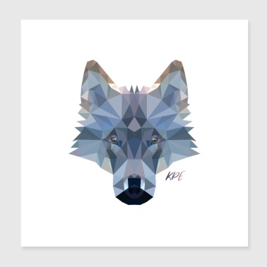 Wolf Kopf im Poly-Style - Poster 20x20 cm