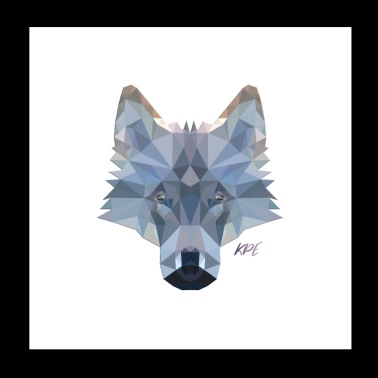 Wolf Kopf im coolen 3D Poly-Style - Poster 20x20 cm