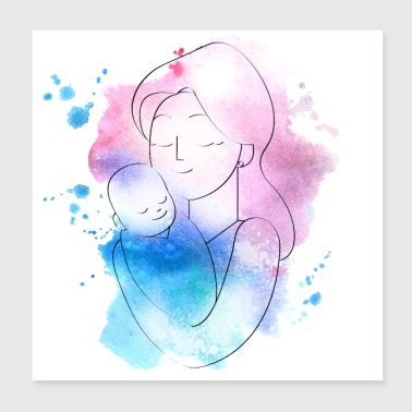 Mother with baby child watercolor pink blue - Poster 20x20 cm