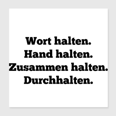 word hand together hold on friend - Poster 20x20 cm