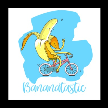 Fantastic banana on bike - good mood vegan - Poster 20x20 cm