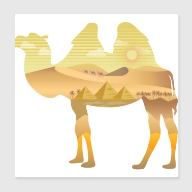 Camel in the desert - Poster 20x20 cm