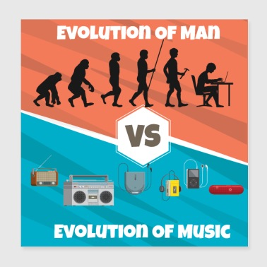 Evolution of Music Rap HipHop Techno Trance House - Poster 20x20 cm