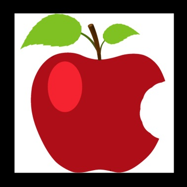 Symbol red apple with 2 leaves - Poster 20x20 cm