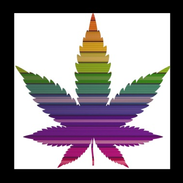 Weed leaf design with colorful background - Poster 20x20 cm